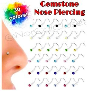Silver & Crystal Nose Ring Studs, lots of colors!